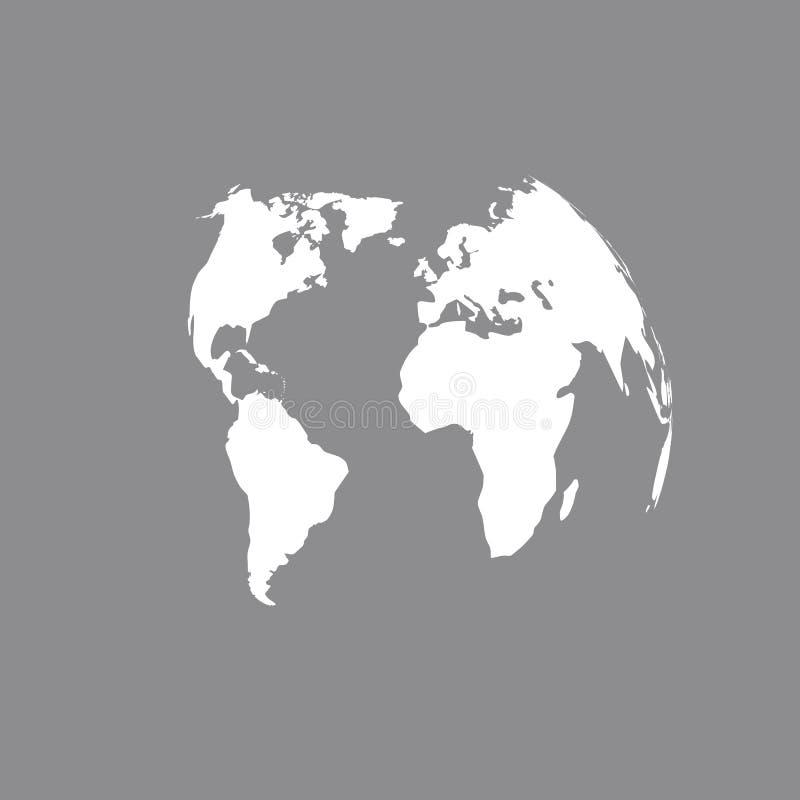 översikt för jordklot 3D i grå färger Världskartamellanrum i grå färger gammal värld för illustrationöversikt stock illustrationer