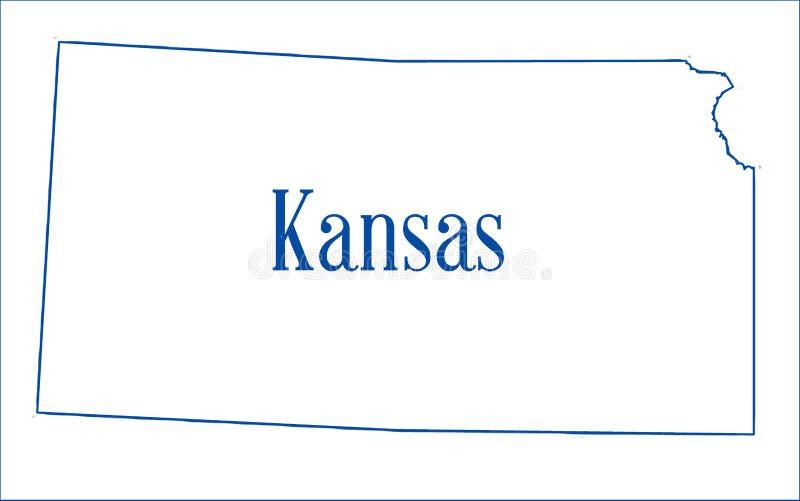 Översikt för Kansas tillståndsöversikt royaltyfri illustrationer