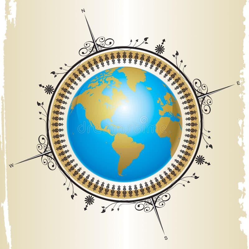 översikt för kompass design01 stock illustrationer