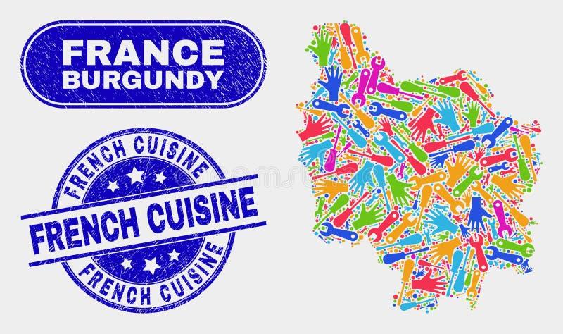 Översikt för konstruktionsBourgognelandskap och franska kokkonstskyddsremsor för Grunge vektor illustrationer