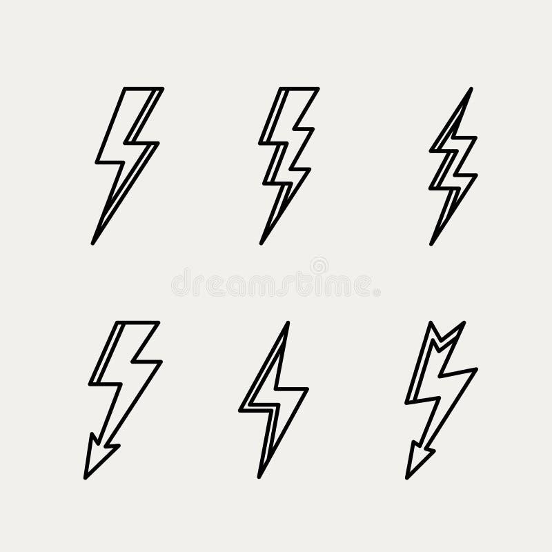 Översikt för kontur för blixtsymbol minsta linjär vektor illustrationer