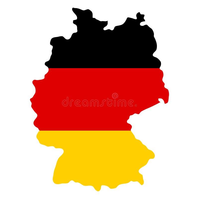 Översikt för konturlandsgränser av Tyskland på nationsflaggabackg royaltyfri illustrationer