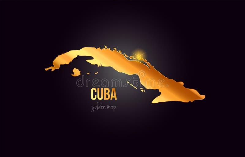 Översikt för Kubalandsgräns i guld- guld- metallfärgdesign stock illustrationer
