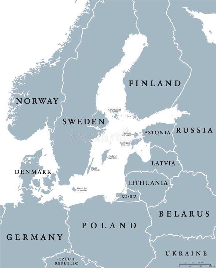 Översikt för länder för Östersjön område politisk vektor illustrationer