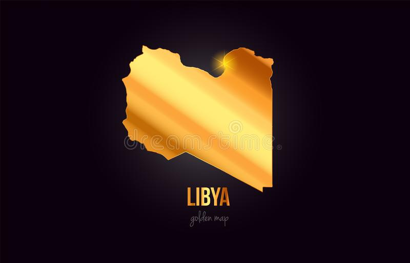 Översikt för Libyen landsgräns i guld- guld- metallfärgdesign vektor illustrationer