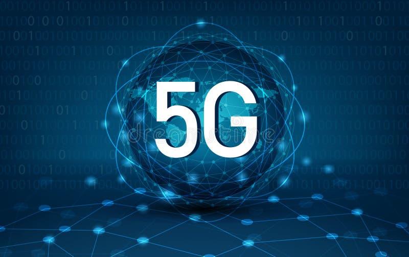 översikt för nätverk för kommunikationer för jord för nätverk för 5g 4g global av mörkret för världsblåttöversikt - global logist vektor illustrationer