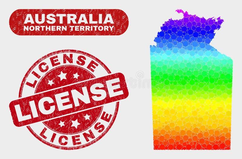 Översikt för nordligt territorium för spektrum mosaisk australisk och skrapad licensstämpel royaltyfri illustrationer