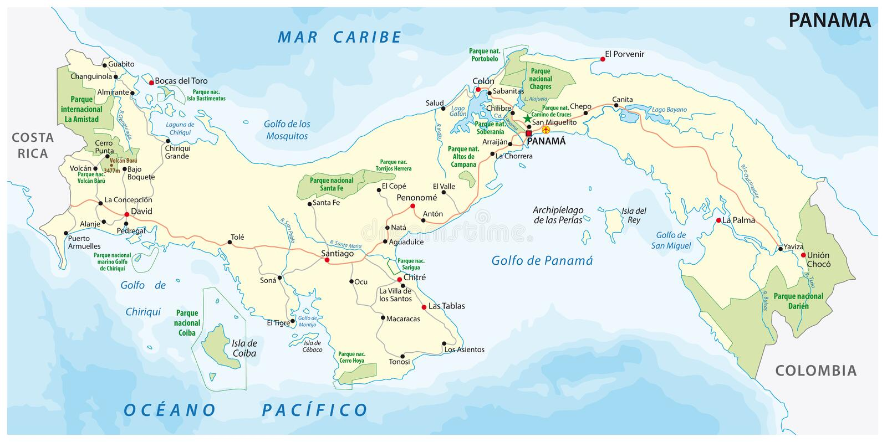 Översikt för Panama väg- och nationalparkvektor vektor illustrationer
