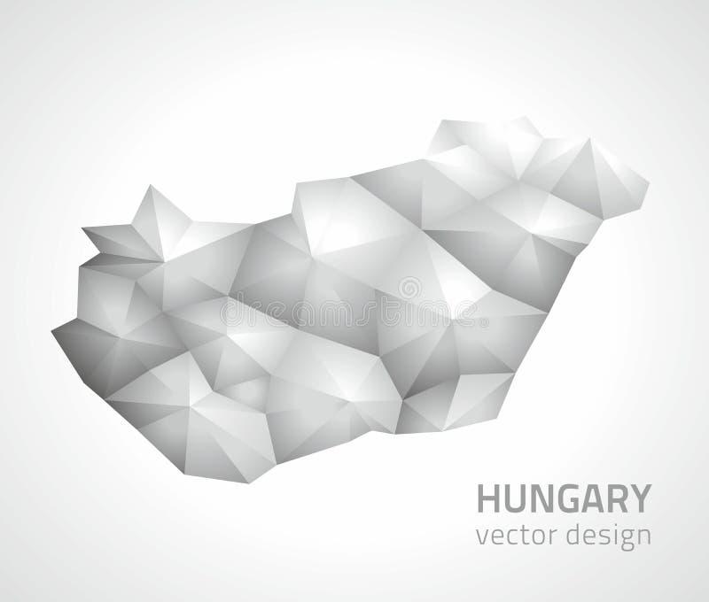 Översikt för perspektiv för skugga för triangel för mosaik för Ungernvektor 3d grå vektor illustrationer