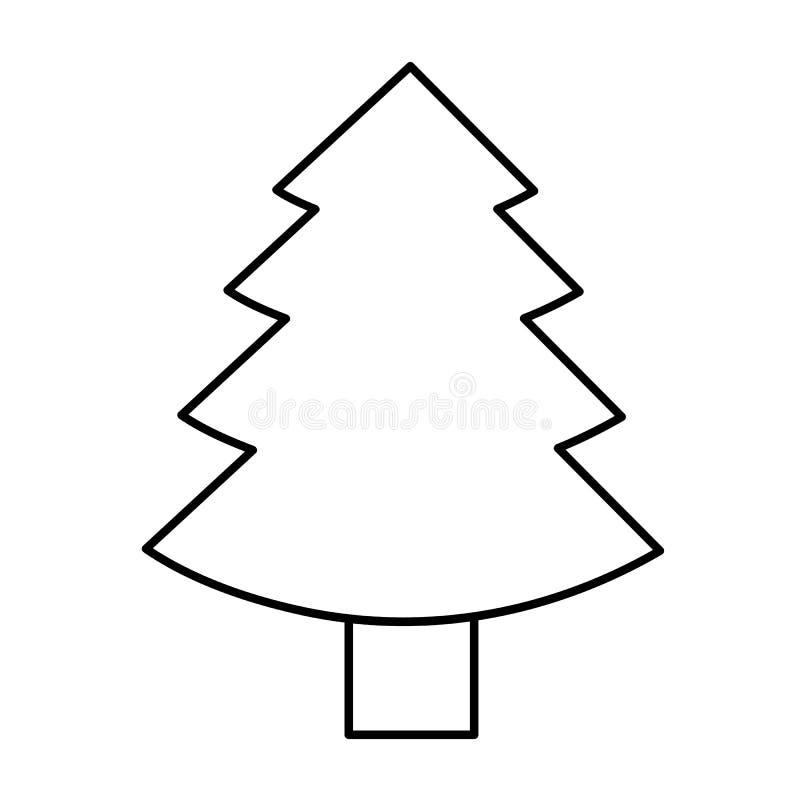 Översikt för pictogram för symbol för julgrangran enkel royaltyfri illustrationer