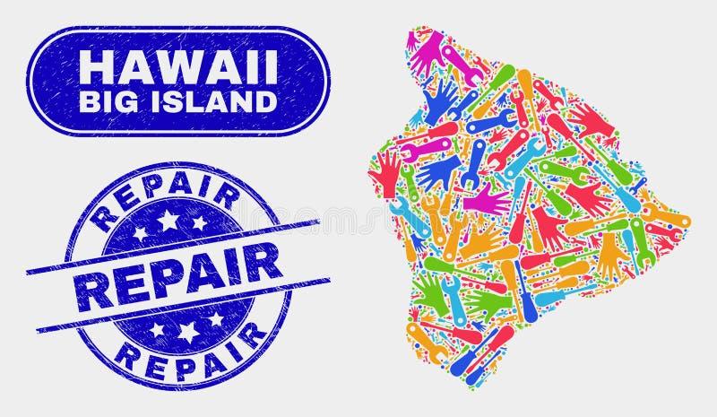 Översikt för produktionHawaii stor ö och att bedröva reparationsstämplar vektor illustrationer