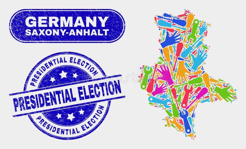 Översikt för produktionSachsen-Anhalt land och att bedröva presidentvalskyddsremsor royaltyfri illustrationer