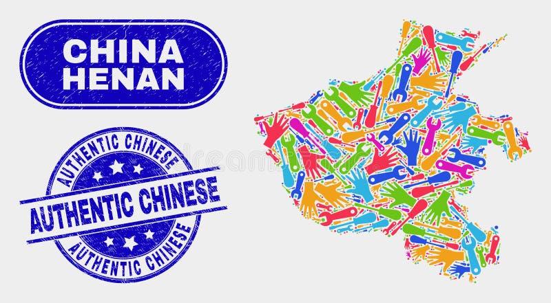 Översikt för produktivitetsHenan landskap och skrapade autentiska kinesiska vattenstämplar stock illustrationer