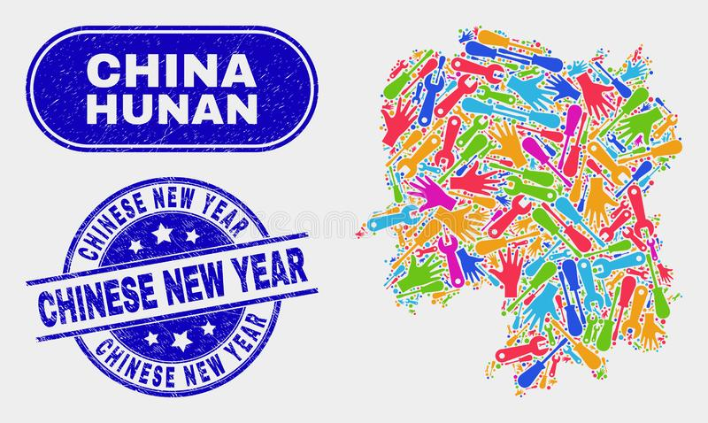 Översikt för produktivitetsHunan landskap och att bedröva kinesiska vattenstämplar för nytt år vektor illustrationer