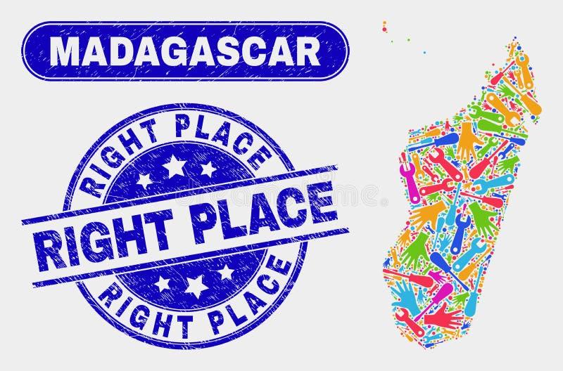 Översikt för produktivitetsMadagascar ö och högra ställestämplar för Grunge royaltyfri illustrationer