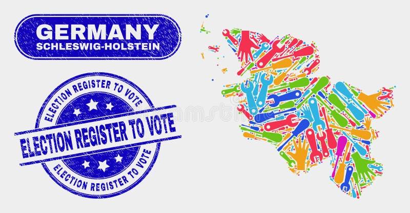Översikt för produktivitetsSchleswig-Holstein land och skrapat valregister som röstar vattenstämplar royaltyfri illustrationer