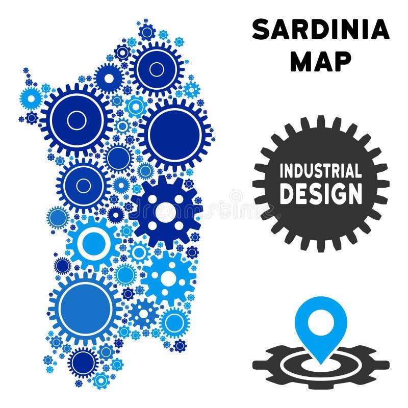 Översikt för sammansättningsitalienareSardinia ö av kugghjul royaltyfri illustrationer