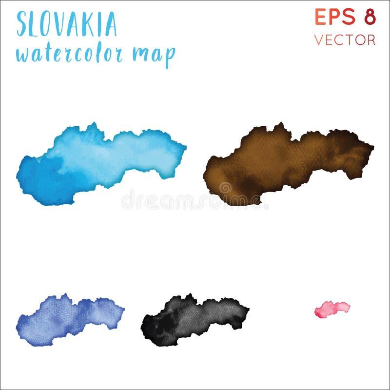 Översikt för Slovakien vattenfärgland royaltyfri illustrationer