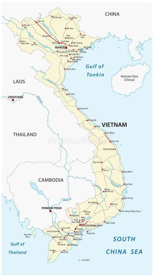 Översikt för Socialistiska republiken Vietnam vägvektor royaltyfri illustrationer