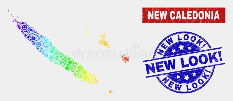 Översikt för spektrumproduktionNya Kaledonien öar och att bedröva New Look! Stämplar royaltyfri illustrationer