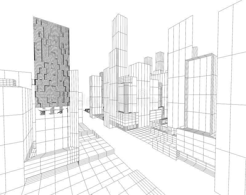 översikt för stad 3d royaltyfri illustrationer