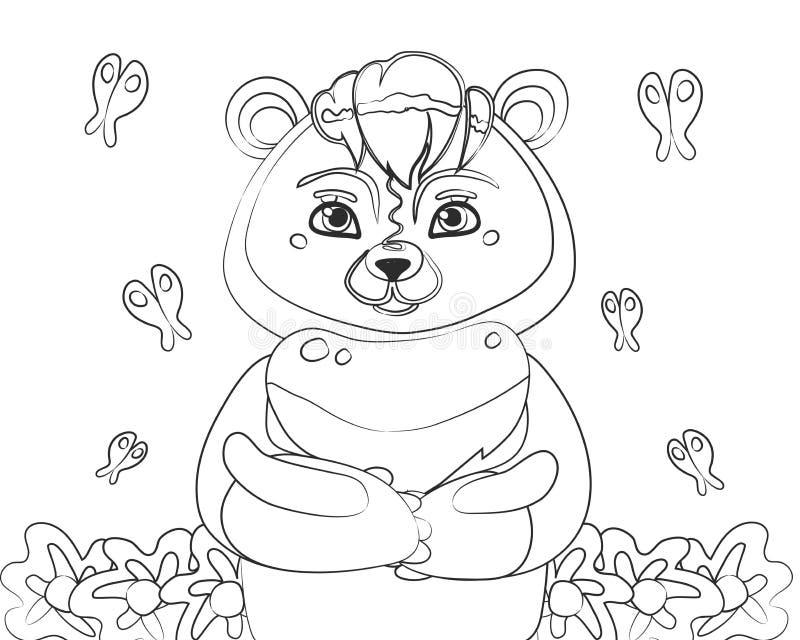 Översikt för svart för nallebjörn som är linjär med fjärilar och blommor för att färga på en vit bakgrundsvektorillustration royaltyfri illustrationer