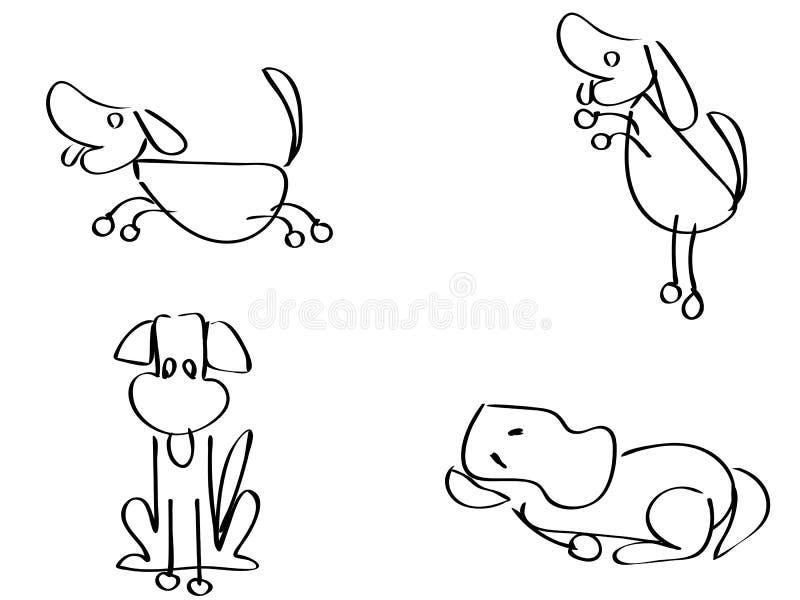 Översikt för tecknad filmklotterhundkapplöpning stock illustrationer