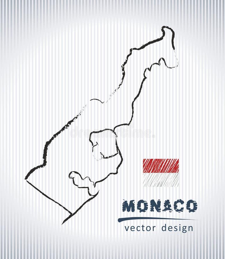 Översikt för teckning för Monaco vektorkrita som isoleras på en vit bakgrund vektor illustrationer