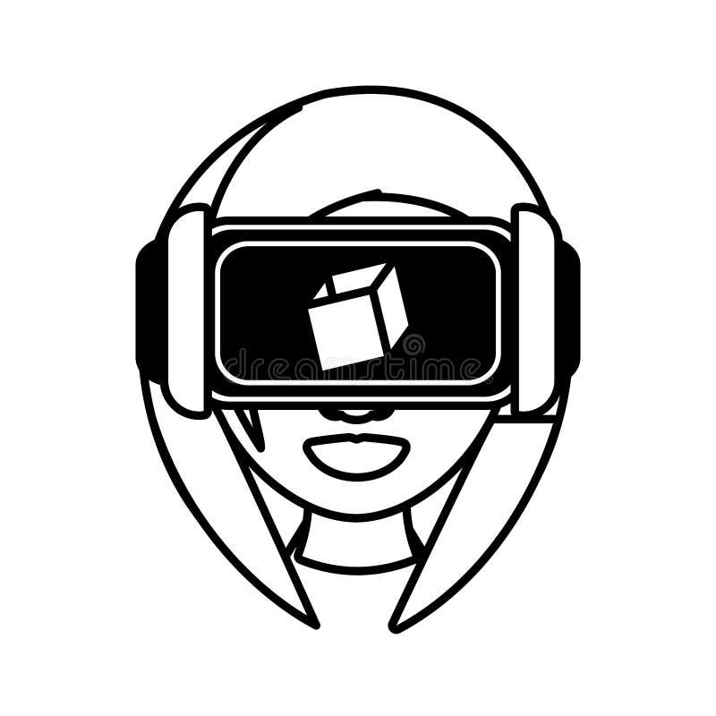översikt för teknologi för flickavirtuell verklighetexponeringsglas 3d royaltyfri bild