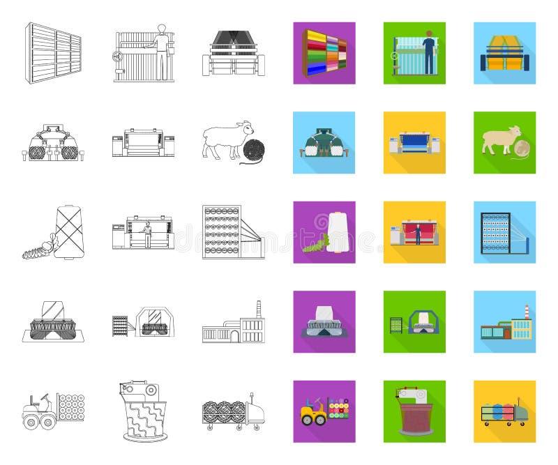 Översikt för textilbransch, plana symboler i den fastställda samlingen för design Symbolet f?r textilutrustning- och tygvektorn l royaltyfri illustrationer