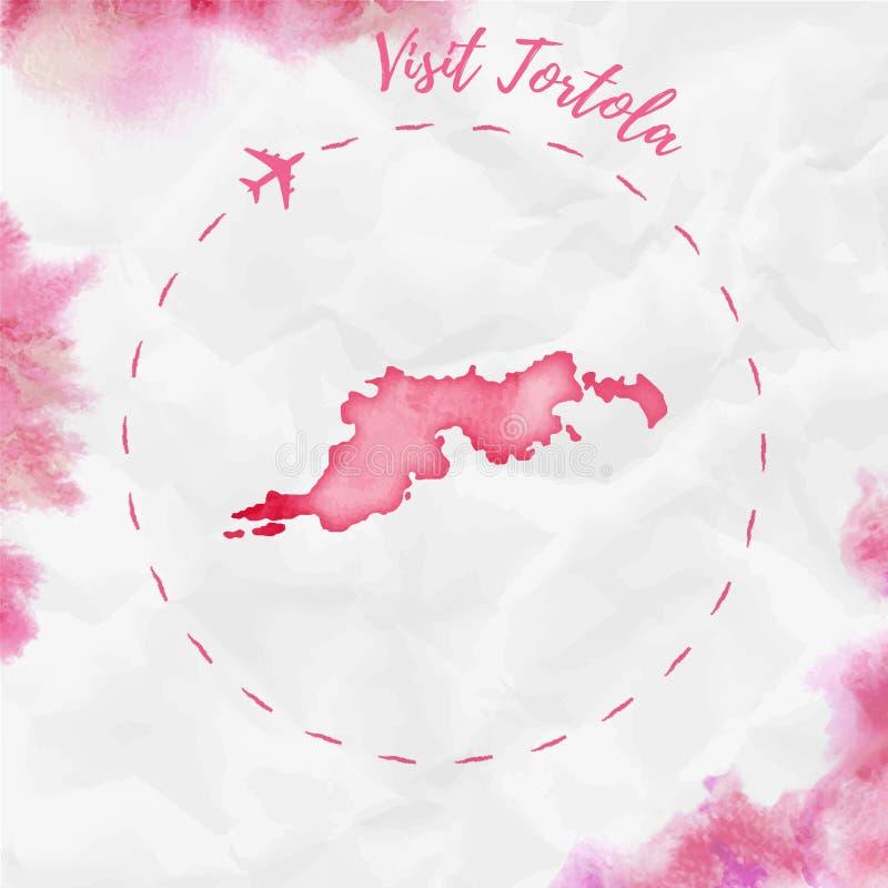 Översikt för Tortola vattenfärgö i röda färger vektor illustrationer