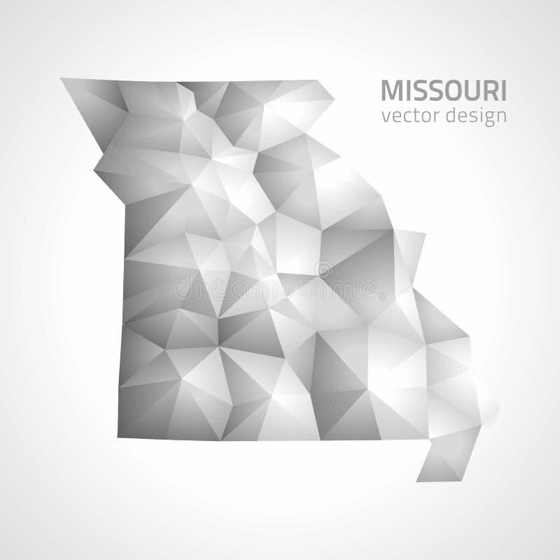 Översikt för triangel för perspektiv för polygonal mosaik för Missouri vektor grå stock illustrationer