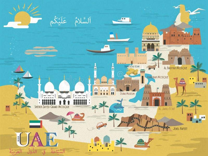 Översikt för UAE-loppbegrepp vektor illustrationer