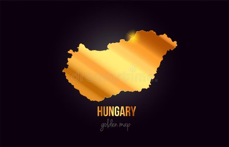 Översikt för Ungernlandsgräns i guld- guld- metallfärgdesign royaltyfri illustrationer