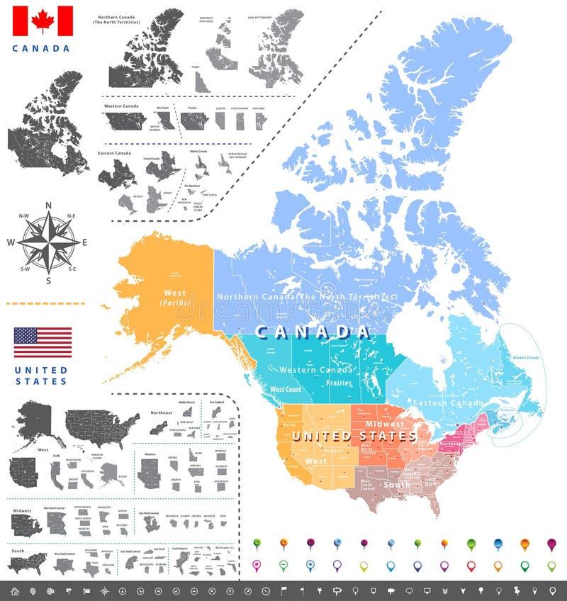 Översikt för uppdelningar för ans för Förenta staternafolkräkningsbyråregioner; Kanadensiska regioner, landskap och territoriumöv vektor illustrationer
