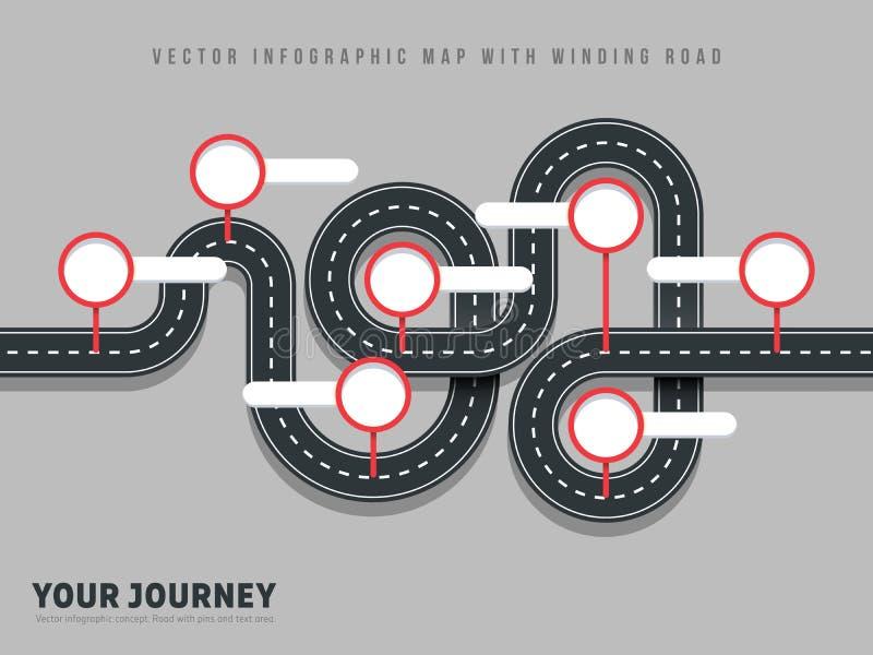 Översikt för väg för vektor för slingrig väg för navigering som är infographic på grå bakgrund stock illustrationer