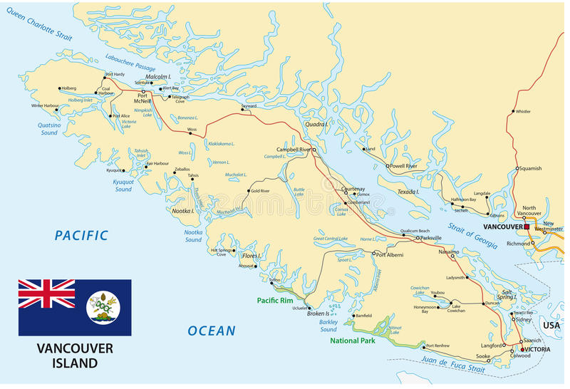 Översikt för Vancouver ö med flaggan royaltyfri illustrationer