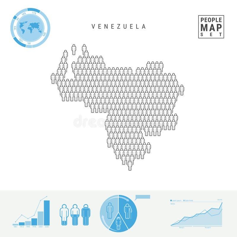 Översikt för Venezuela folksymbol Stiliserad vektorkontur av Venezuela Befolkningstillväxt och åldrasInfographics vektor illustrationer