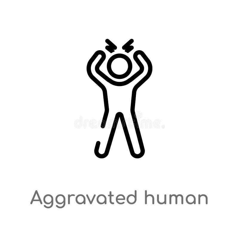 översikt förvärrad mänsklig vektorsymbol isolerad svart enkel linje beståndsdelillustration från känslabegrepp Redigerbar vektor stock illustrationer
