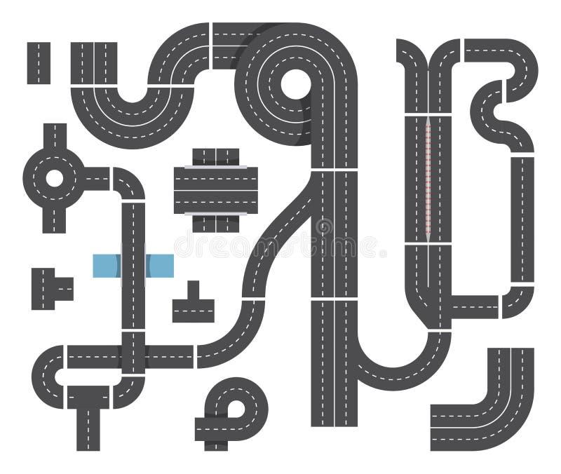 Översikt från olika fragment av stadsvägen Huvudvägtrafik, genomskärning och bilar Vektoruppsättning för bästa sikt royaltyfri illustrationer