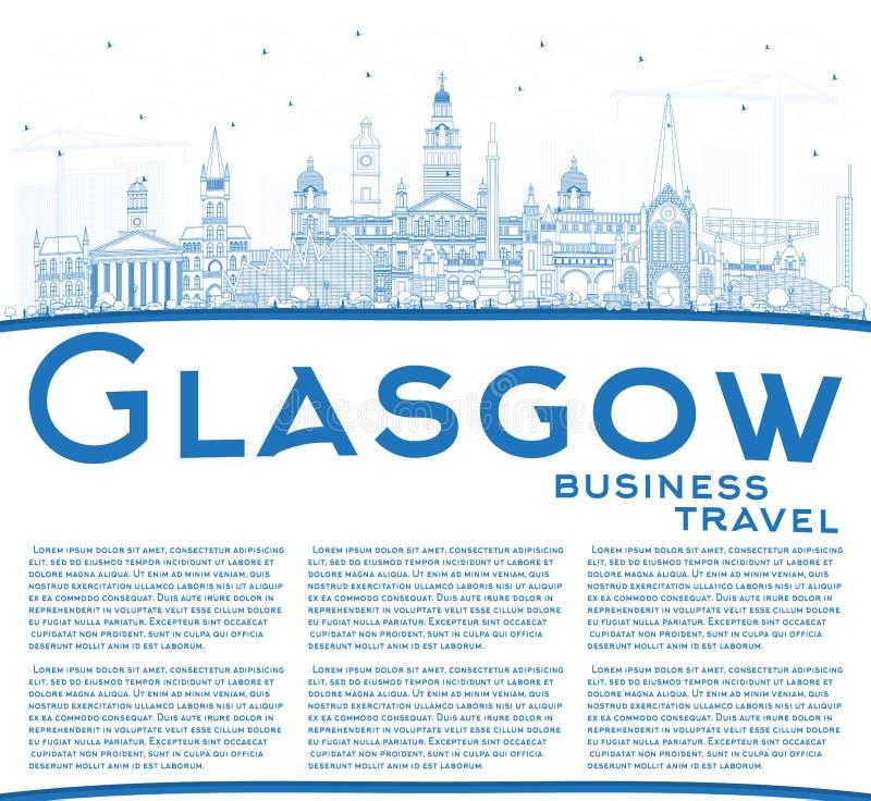 Översikt Glasgow Scotland City Skyline med blåa byggnader och Co royaltyfri illustrationer
