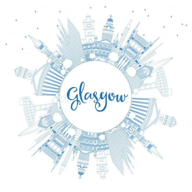 Översikt Glasgow Scotland City Skyline med blåa byggnader och Co stock illustrationer
