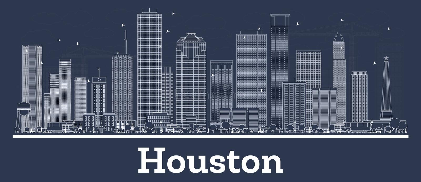 Översikt Houston Texas City Skyline med vita byggnader vektor illustrationer