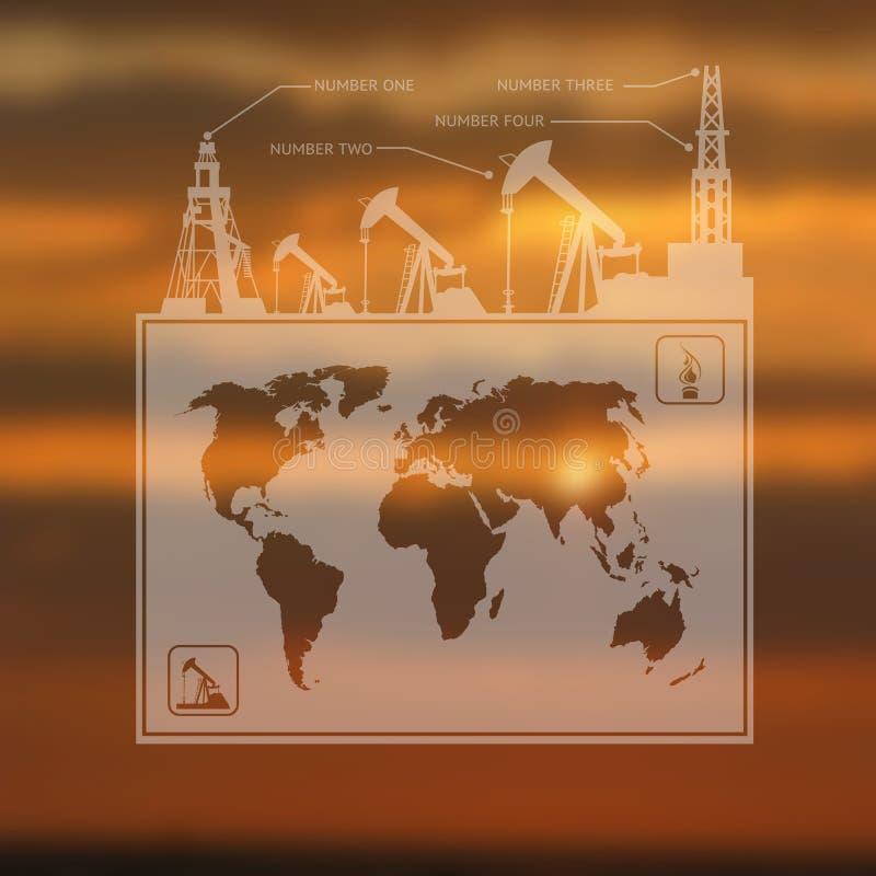 Översikt Infographics för olje- pump royaltyfri illustrationer