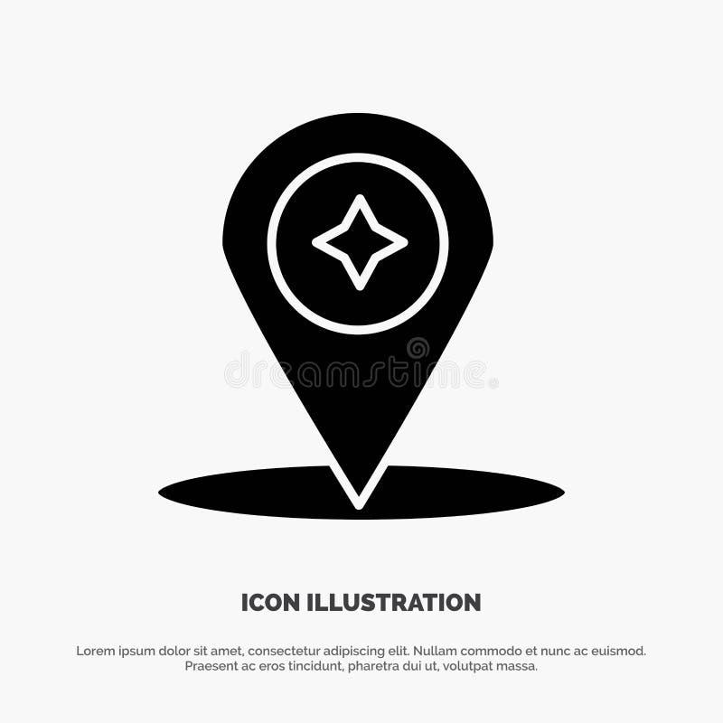 Översikt kompass, navigering, för skårasymbol för läge fast vektor stock illustrationer