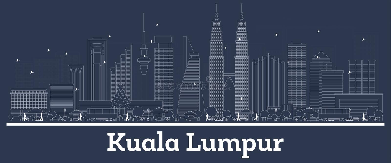 ?versikt Kuala Lumpur Malaysia City Skyline med vita byggnader stock illustrationer