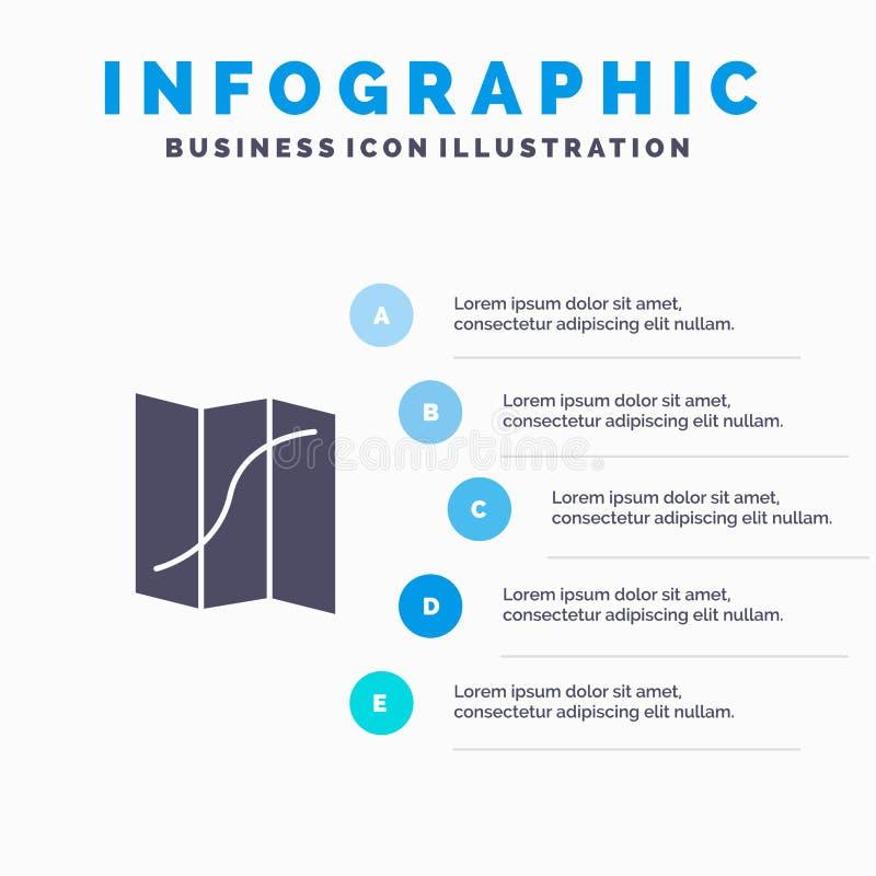 Översikt läge, navigering, bakgrund för Pin Solid Icon Infographics 5 momentpresentation royaltyfri illustrationer