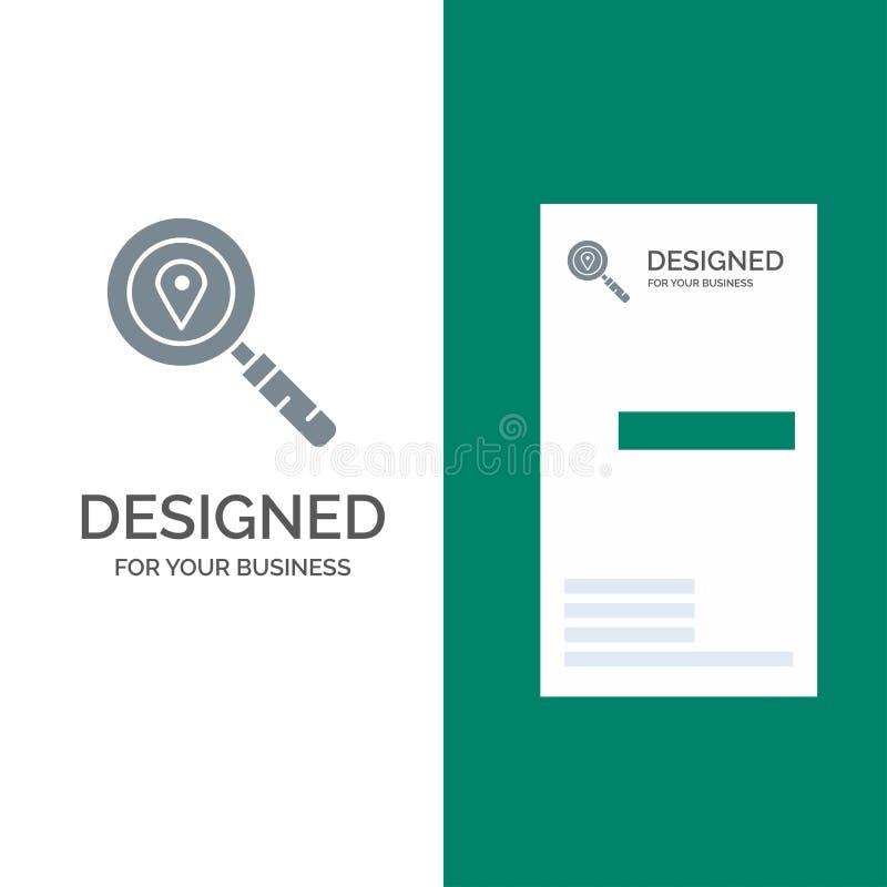 Översikt, läge, sökande, navigering Grey Logo Design och mall för affärskort stock illustrationer