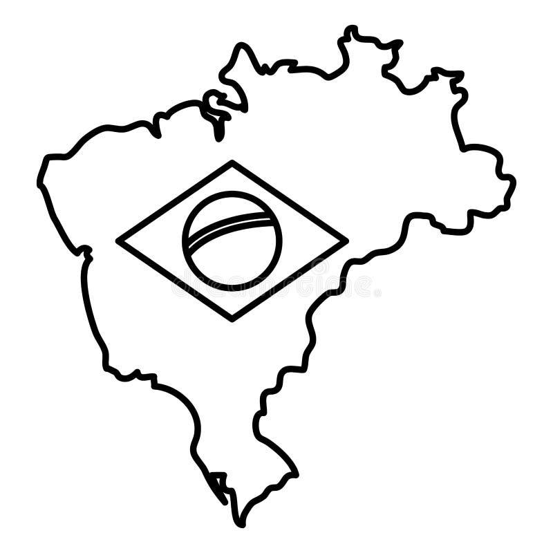 Översikt med den brasilianska flaggan vektor illustrationer