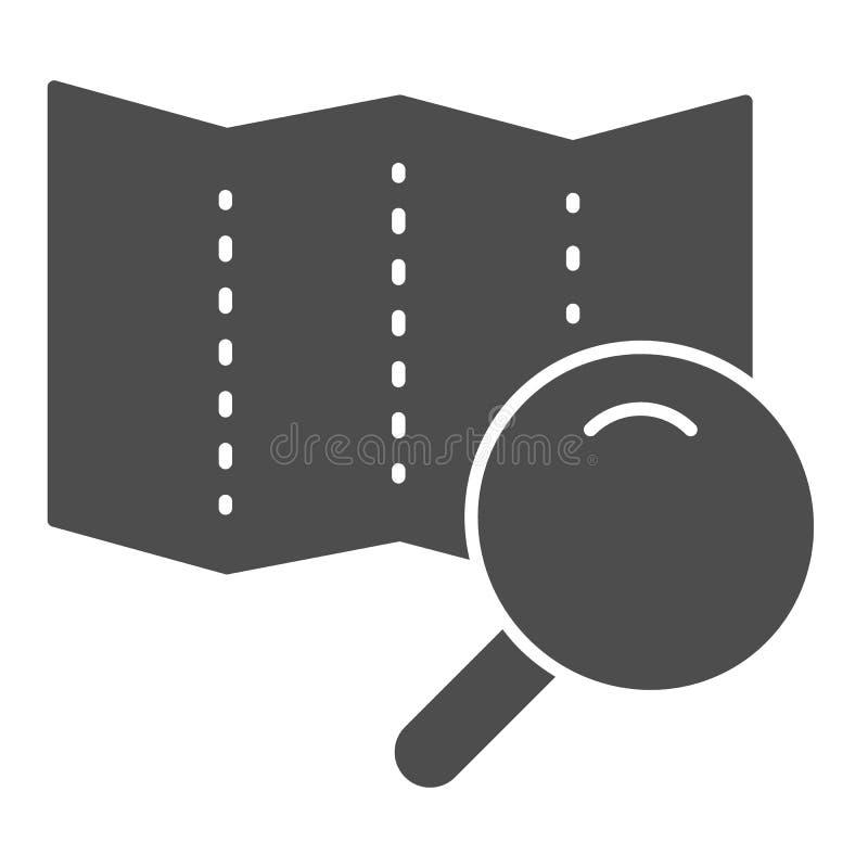 ?versikt med den fasta symbolen f?r lins Illustration f?r s?kandev?gvektor som isoleras p? vit F?rstoringsapparatexponeringsglas  stock illustrationer